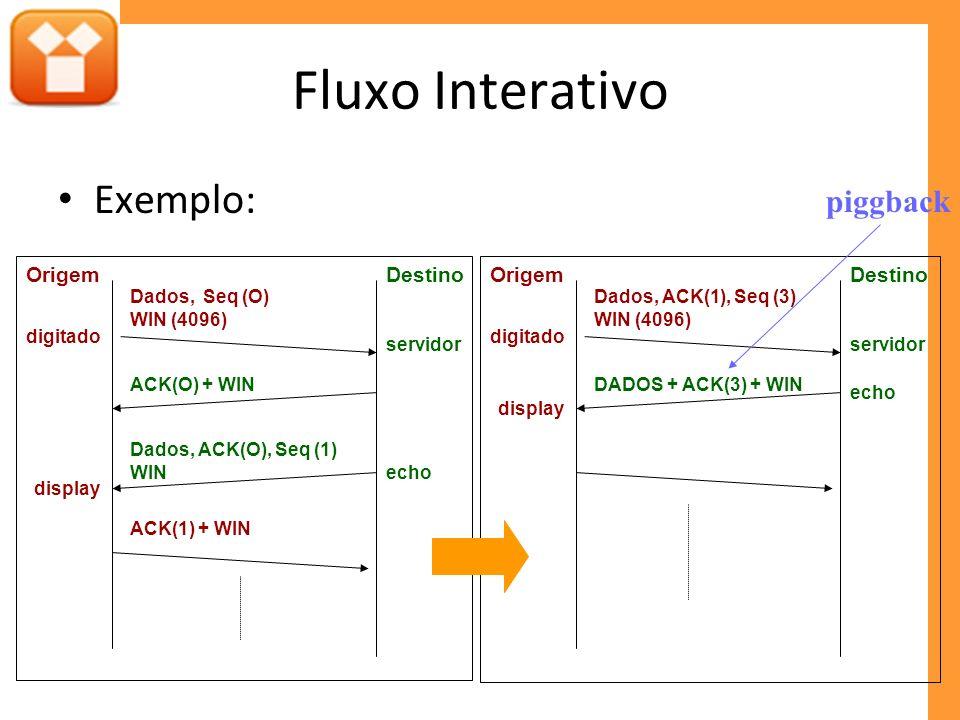 Fluxo Interativo Exemplo: DestinoOrigem Dados, Seq (O) WIN (4096) ACK(O) + WIN ACK(1) + WIN Dados, ACK(O), Seq (1) WIN digitado servidor echo display
