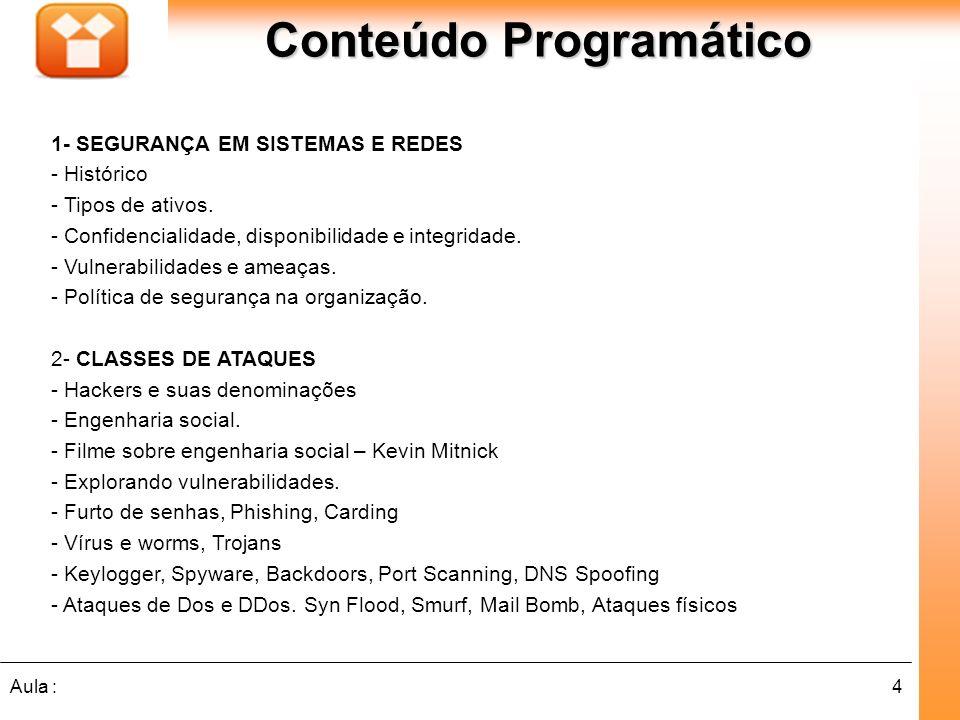 4Aula : Conteúdo Programático 1- SEGURANÇA EM SISTEMAS E REDES - Histórico - Tipos de ativos.