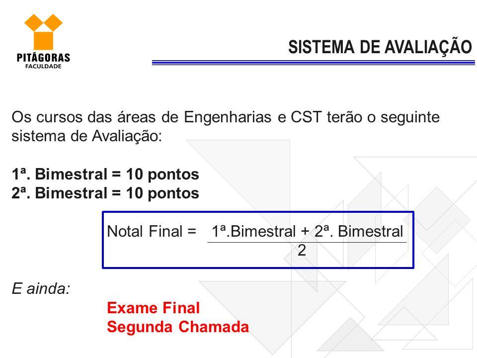 Os cursos das áreas de Engenharias e CST terão o seguinte sistema de Avaliação: 1ª. Bimestral = 10 pontos 2ª. Bimestral = 10 pontos Notal Final = 1ª.B