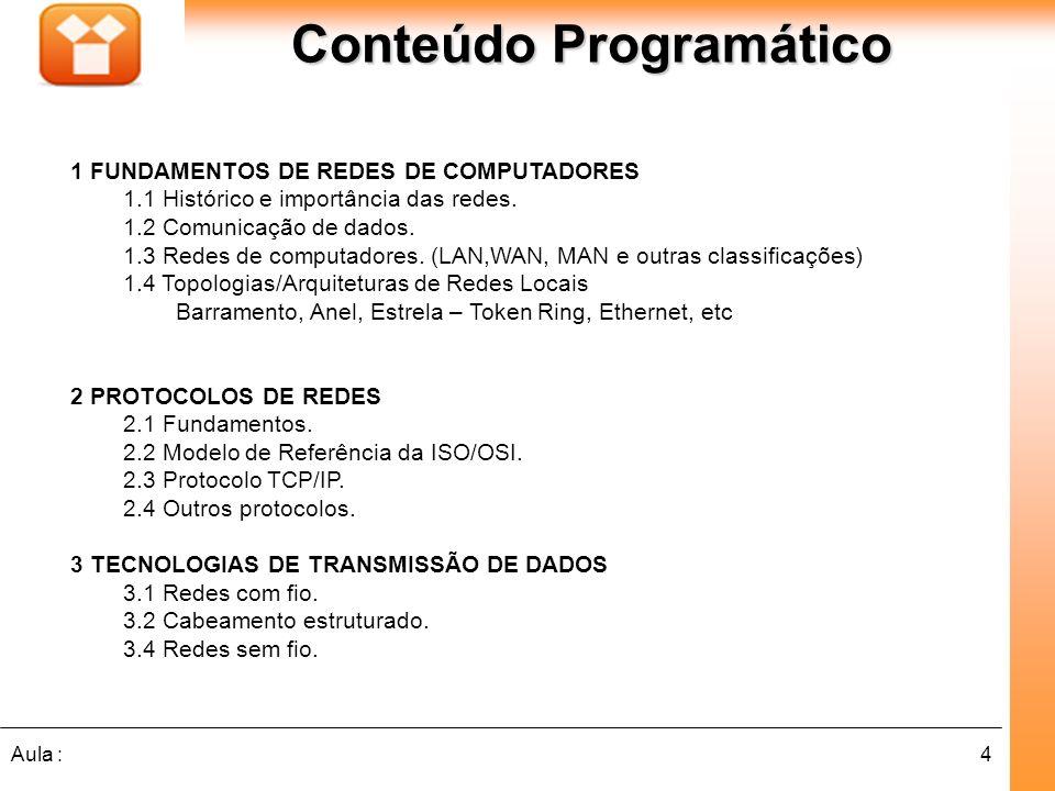4Aula : Conteúdo Programático 1 FUNDAMENTOS DE REDES DE COMPUTADORES 1.1 Histórico e importância das redes. 1.2 Comunicação de dados. 1.3 Redes de com