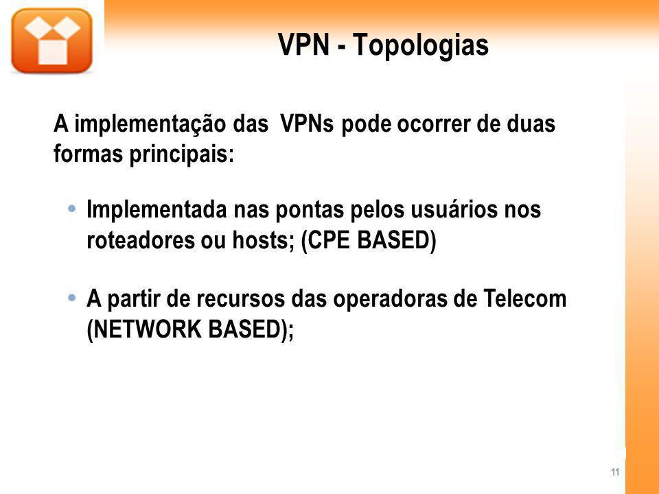 VPN - Topologias A implementação das VPNs pode ocorrer de duas formas principais: Implementada nas pontas pelos usuários nos roteadores ou hosts; (CPE BASED) A partir de recursos das operadoras de Telecom (NETWORK BASED); 11
