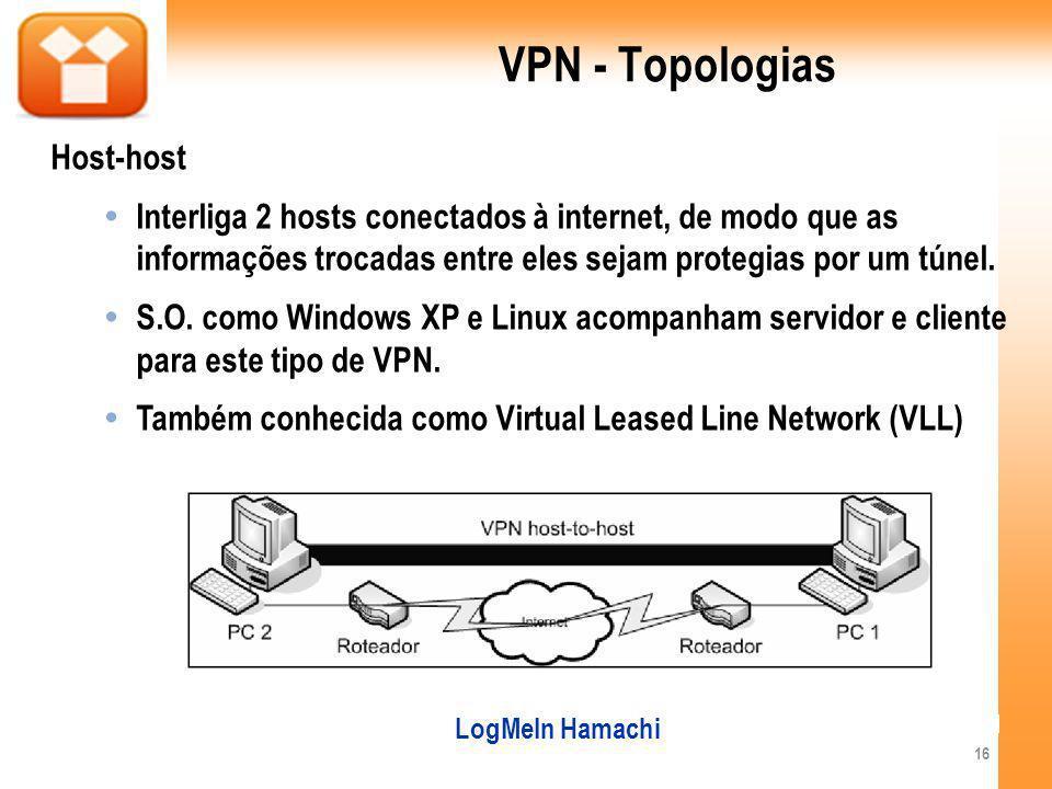 VPN - Topologias Host-host Interliga 2 hosts conectados à internet, de modo que as informações trocadas entre eles sejam protegias por um túnel.
