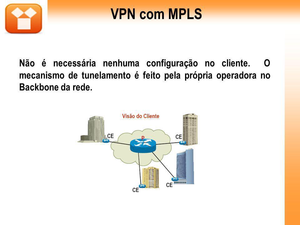 Não é necessária nenhuma configuração no cliente. O mecanismo de tunelamento é feito pela própria operadora no Backbone da rede. VPN com MPLS
