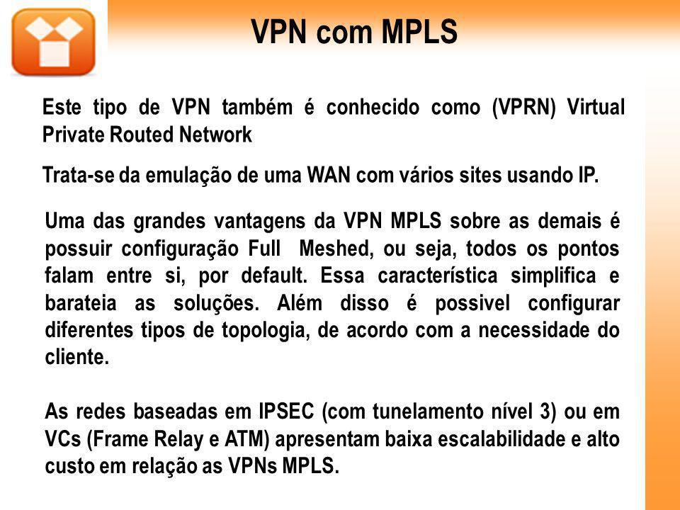 Este tipo de VPN também é conhecido como (VPRN) Virtual Private Routed Network Trata-se da emulação de uma WAN com vários sites usando IP. Uma das gra