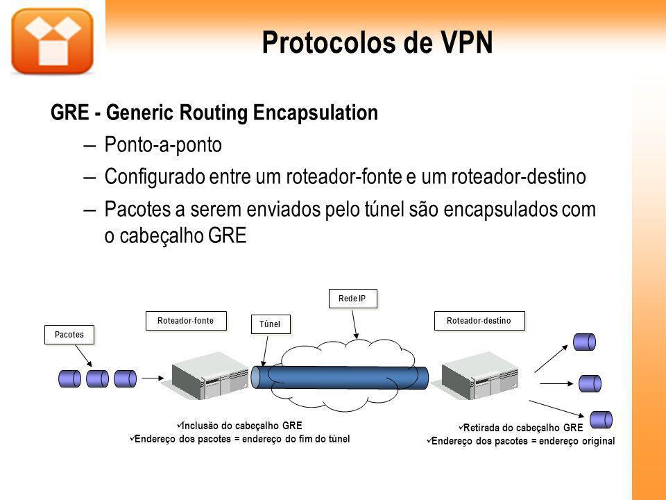GRE - Generic Routing Encapsulation – Ponto-a-ponto – Configurado entre um roteador-fonte e um roteador-destino – Pacotes a serem enviados pelo túnel