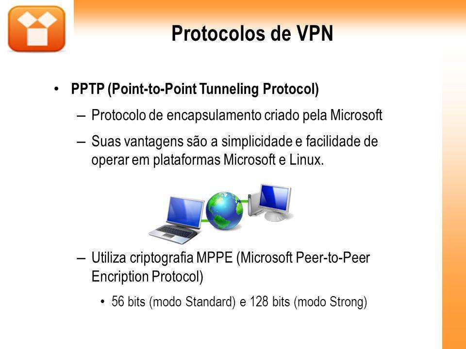 PPTP (Point-to-Point Tunneling Protocol) – Protocolo de encapsulamento criado pela Microsoft – Suas vantagens são a simplicidade e facilidade de operar em plataformas Microsoft e Linux.