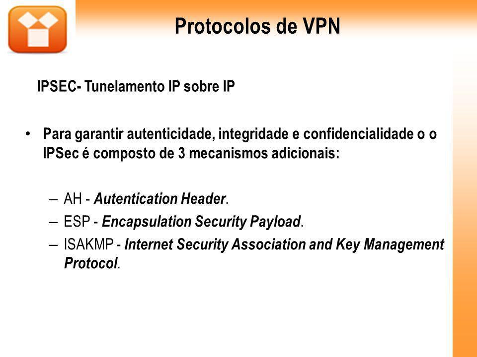 Para garantir autenticidade, integridade e confidencialidade o o IPSec é composto de 3 mecanismos adicionais: – AH - Autentication Header. – ESP - Enc