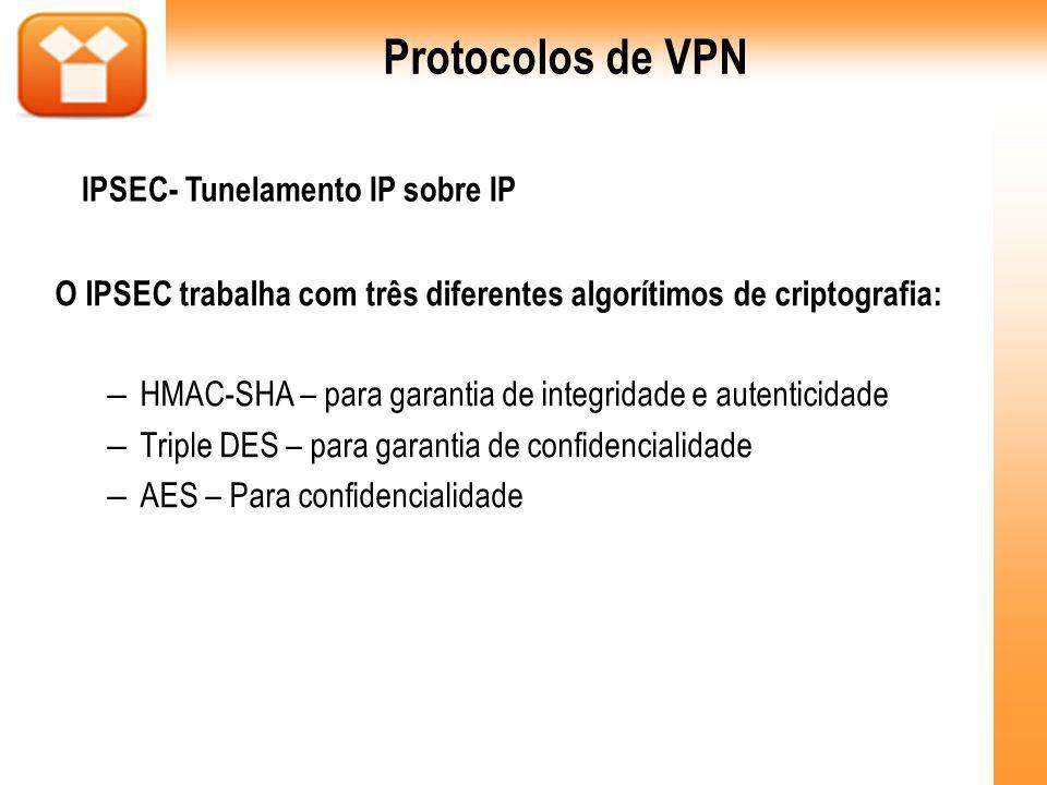 O IPSEC trabalha com três diferentes algorítimos de criptografia: – HMAC-SHA – para garantia de integridade e autenticidade – Triple DES – para garantia de confidencialidade – AES – Para confidencialidade Protocolos de VPN IPSEC- Tunelamento IP sobre IP