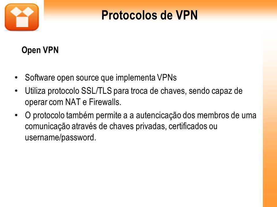 Software open source que implementa VPNs Utiliza protocolo SSL/TLS para troca de chaves, sendo capaz de operar com NAT e Firewalls. O protocolo também