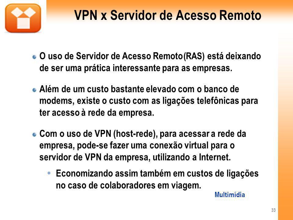 VPN x Servidor de Acesso Remoto O uso de Servidor de Acesso Remoto (RAS) está deixando de ser uma prática interessante para as empresas. Além de um cu
