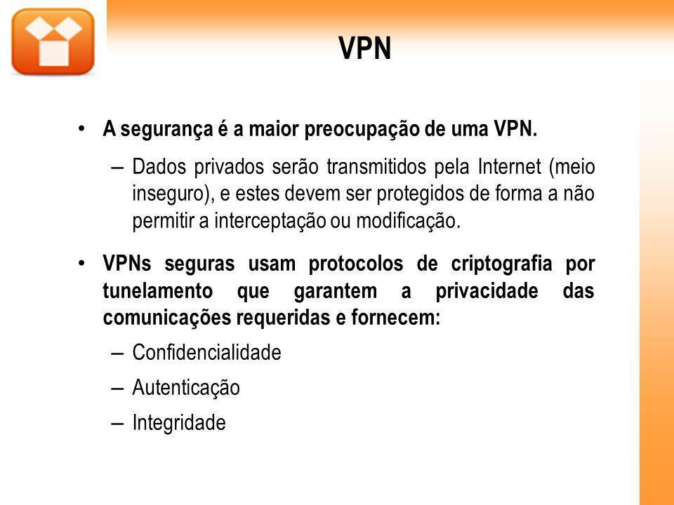 VPN A segurança é a maior preocupação de uma VPN. – Dados privados serão transmitidos pela Internet (meio inseguro), e estes devem ser protegidos de f