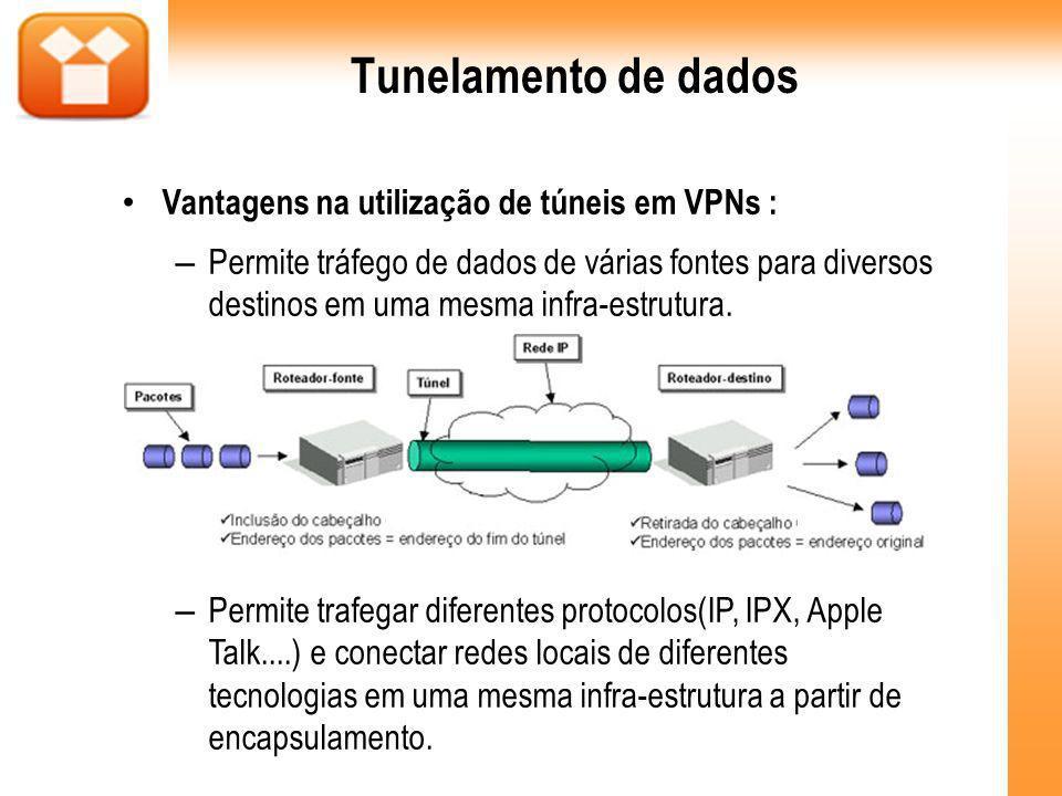 Tunelamento de dados Vantagens na utilização de túneis em VPNs : – Permite tráfego de dados de várias fontes para diversos destinos em uma mesma infra-estrutura.