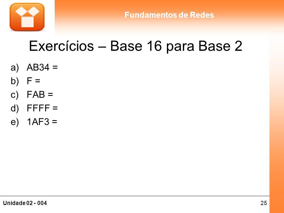 25Unidade 02 - 004 Fundamentos de Redes Exercícios – Base 16 para Base 2 a)AB34 = b)F = c)FAB = d)FFFF = e)1AF3 =