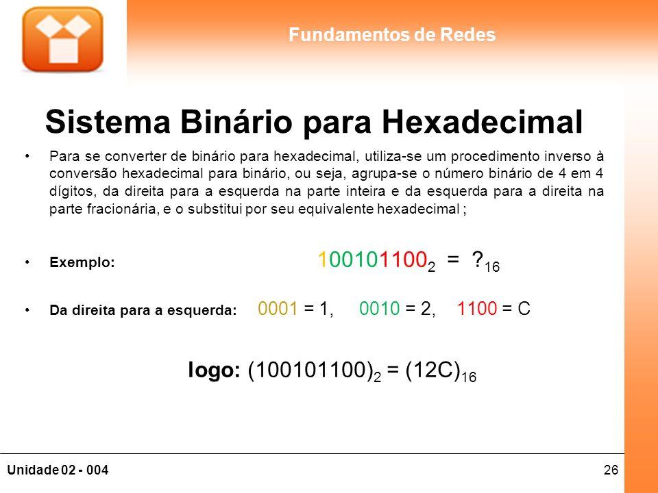 26Unidade 02 - 004 Fundamentos de Redes Sistema Binário para Hexadecimal ;Para se converter de binário para hexadecimal, utiliza-se um procedimento in