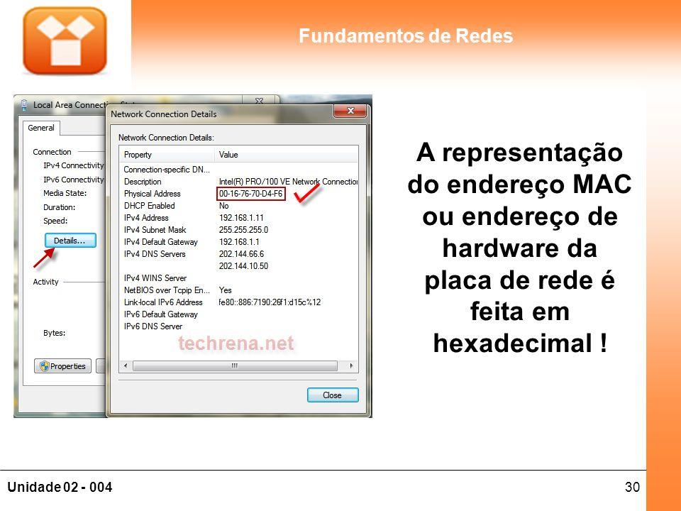 30Unidade 02 - 004 Fundamentos de Redes A representação do endereço MAC ou endereço de hardware da placa de rede é feita em hexadecimal !
