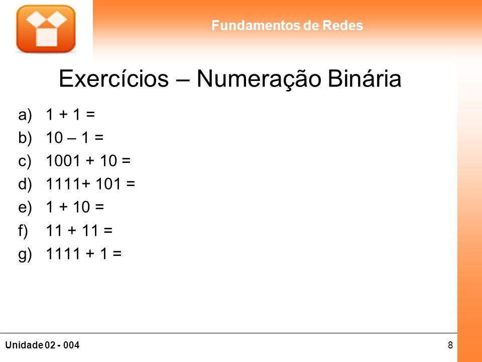 8Unidade 02 - 004 Fundamentos de Redes Exercícios – Numeração Binária a)1 + 1 = b)10 – 1 = c)1001 + 10 = d)1111+ 101 = e)1 + 10 = f)11 + 11 = g)1111 +