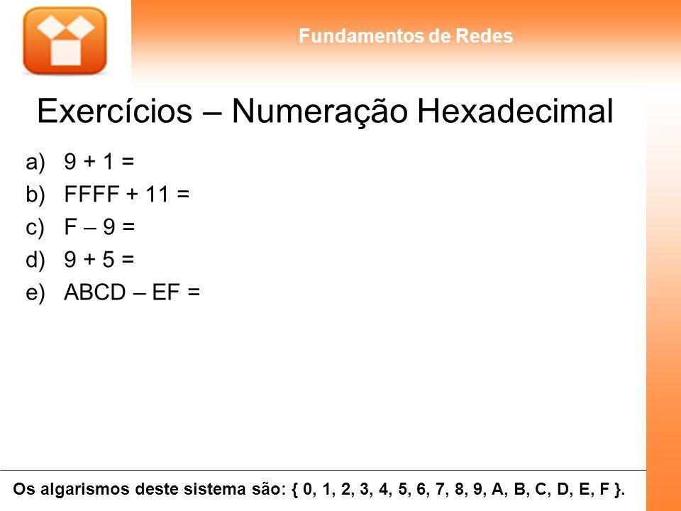 9Unidade 02 - 004 Fundamentos de Redes Exercícios – Numeração Hexadecimal a)9 + 1 = b)FFFF + 11 = c)F – 9 = d)9 + 5 = e)ABCD – EF = Os algarismos dest