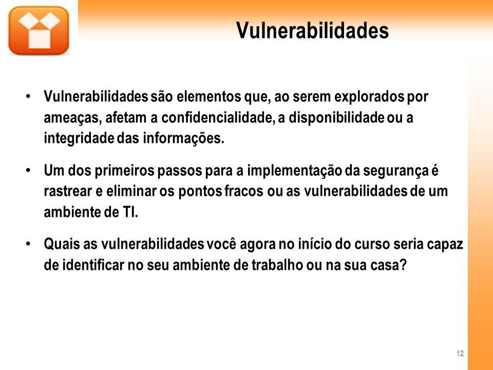 Vulnerabilidades Vulnerabilidades são elementos que, ao serem explorados por ameaças, afetam a confidencialidade, a disponibilidade ou a integridade d