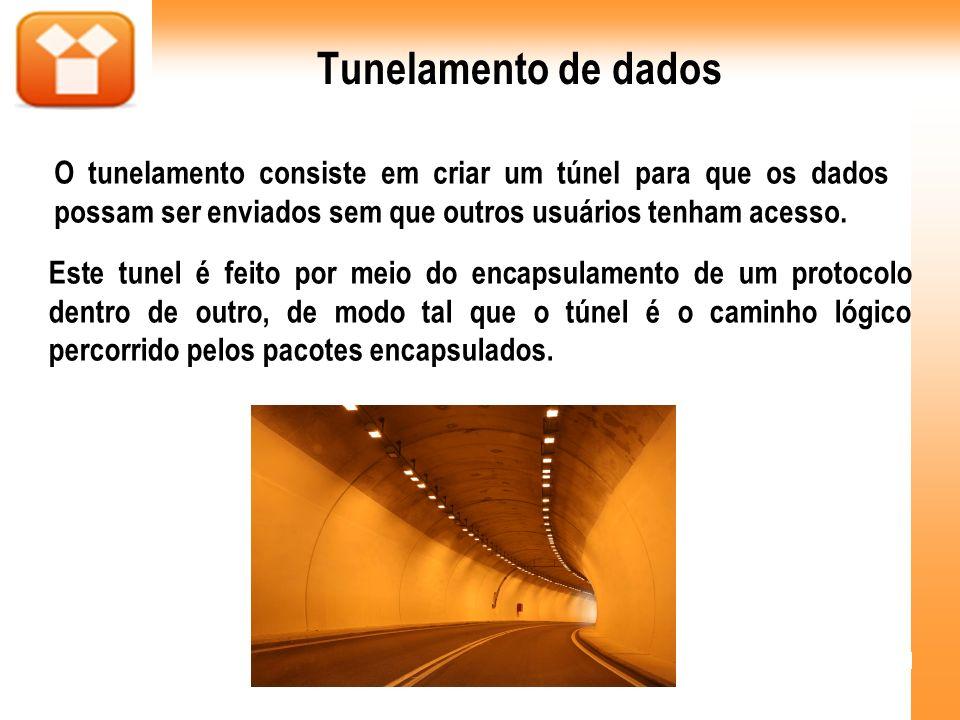 Tunelamento de dados O tunelamento consiste em criar um túnel para que os dados possam ser enviados sem que outros usuários tenham acesso. Este tunel