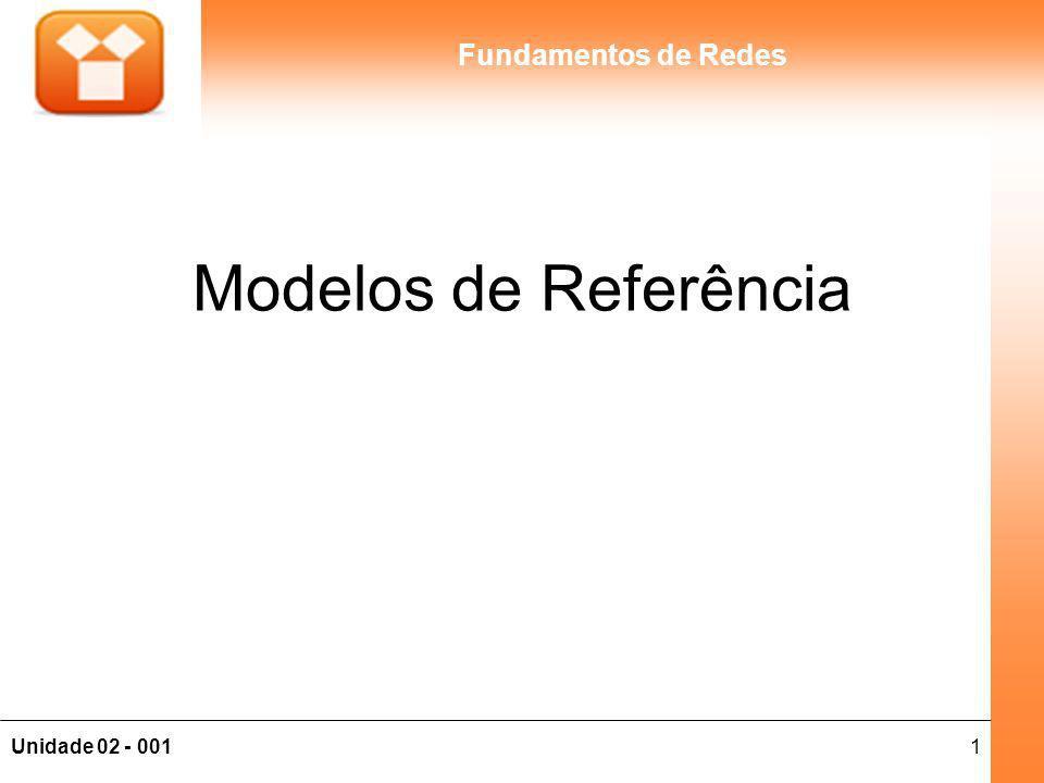 2Unidade 02 - 001 Fundamentos de Redes Conteúdo 2 - MODELOS DE REFERÊNCIA: 2.1 - Modelo de referência OSI; 2.2 - Modelo de referência TCP/IP; 2.3 - Modelo OSI X Modelo TCP/IP; 2.4 - Visão Geral de protocolos de rede; 2.5 - Endereçamento IP.