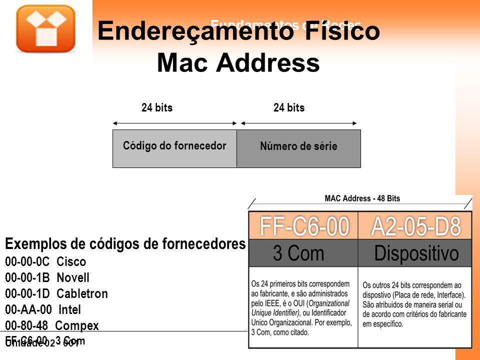 19Unidade 02 - 001 Fundamentos de Redes Endereçamento Físico Mac Address Código do fornecedor Número de série 24 bits Exemplos de códigos de fornecedo