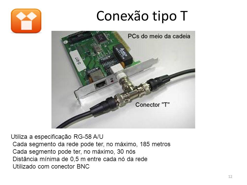 Conexão tipo T Utiliza a especificação RG-58 A/U Cada segmento da rede pode ter, no máximo, 185 metros Cada segmento pode ter, no máximo, 30 nós Distâ