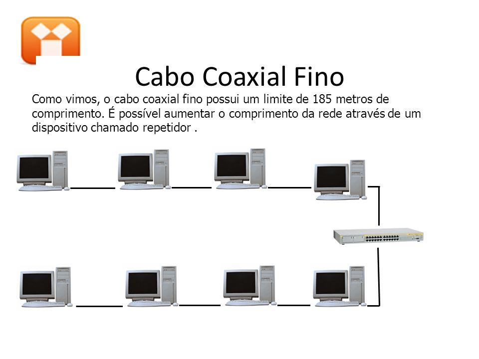 Como vimos, o cabo coaxial fino possui um limite de 185 metros de comprimento. É possível aumentar o comprimento da rede através de um dispositivo cha