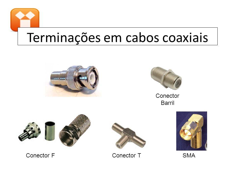Terminações em cabos coaxiais SMAConector FConector T Conector Barril