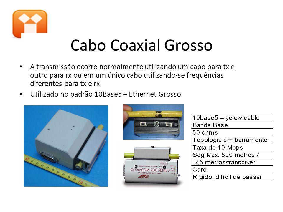 Cabo Coaxial Grosso A transmissão ocorre normalmente utilizando um cabo para tx e outro para rx ou em um único cabo utilizando-se frequências diferent