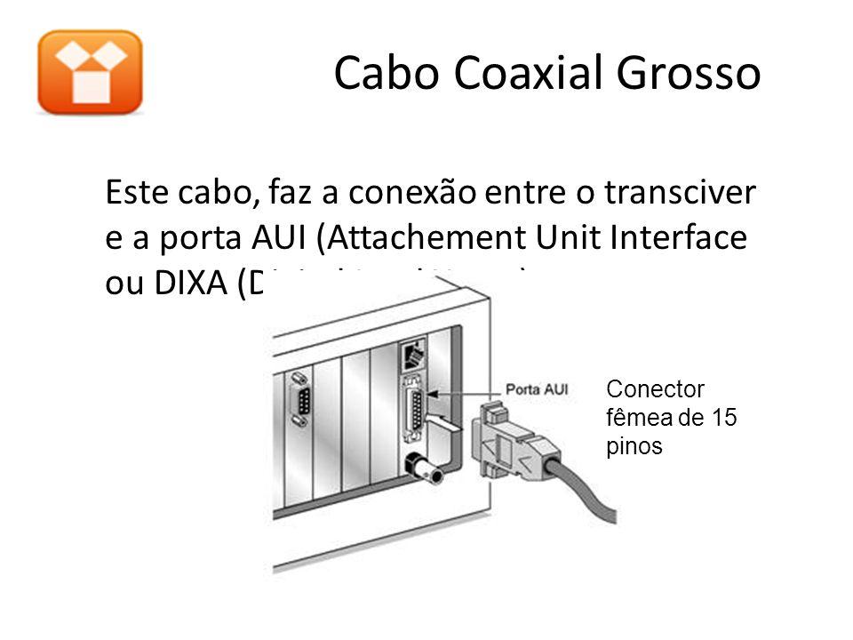 Este cabo, faz a conexão entre o transciver e a porta AUI (Attachement Unit Interface ou DIXA (Digital Intel Xerox). Cabo Coaxial Grosso Conector fême