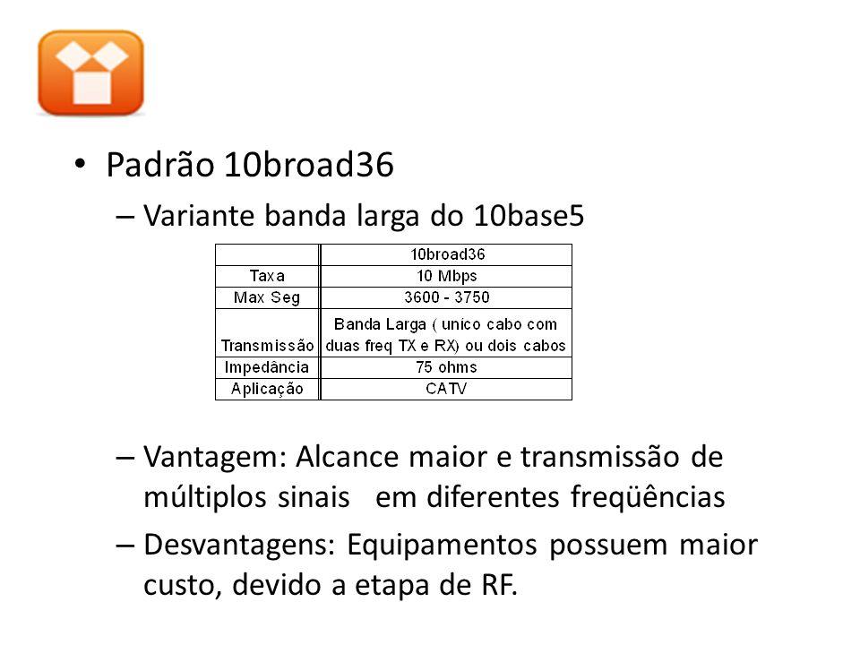 Padrão 10broad36 – Variante banda larga do 10base5 – Vantagem: Alcance maior e transmissão de múltiplos sinais em diferentes freqüências – Desvantagen