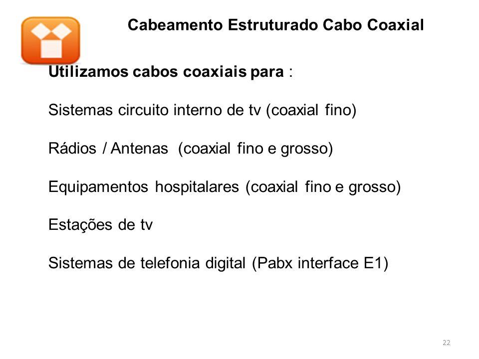 Cabeamento Estruturado Cabo Coaxial Utilizamos cabos coaxiais para : Sistemas circuito interno de tv (coaxial fino) Rádios / Antenas (coaxial fino e g