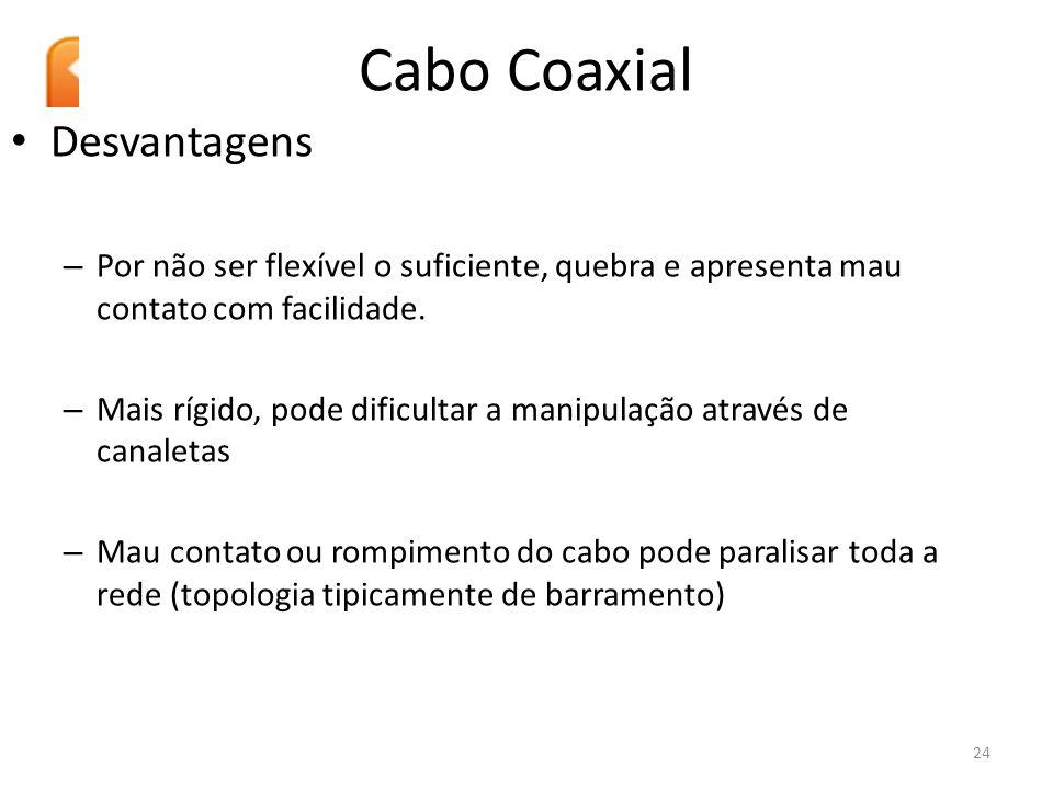 Cabo Coaxial Desvantagens – Por não ser flexível o suficiente, quebra e apresenta mau contato com facilidade. – Mais rígido, pode dificultar a manipul