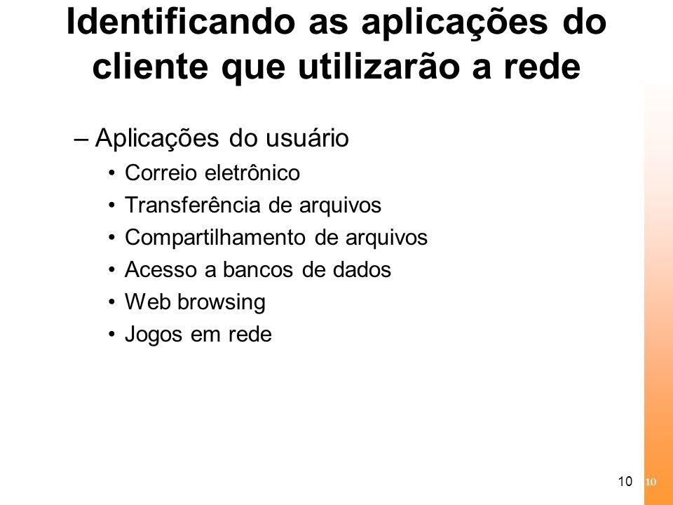 10 Identificando as aplicações do cliente que utilizarão a rede –Aplicações do usuário Correio eletrônico Transferência de arquivos Compartilhamento d