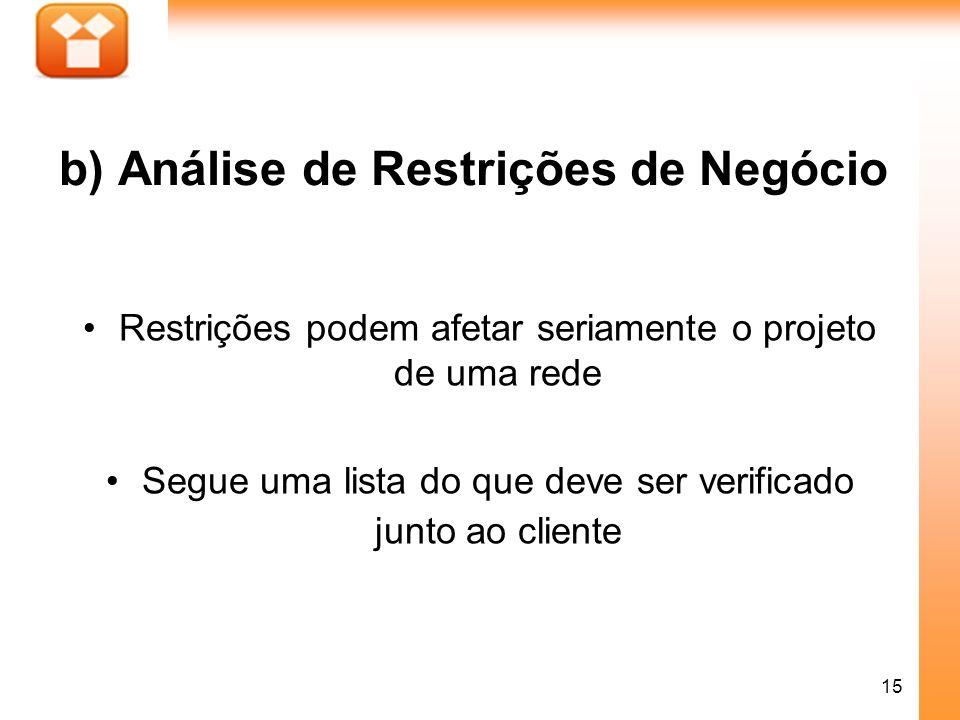 15 b) Análise de Restrições de Negócio Restrições podem afetar seriamente o projeto de uma rede Segue uma lista do que deve ser verificado junto ao cl
