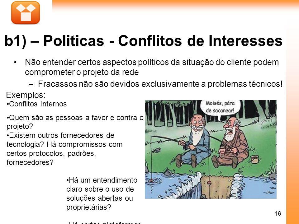 16 b1) – Politicas - Conflitos de Interesses Não entender certos aspectos políticos da situação do cliente podem comprometer o projeto da rede –Fracas