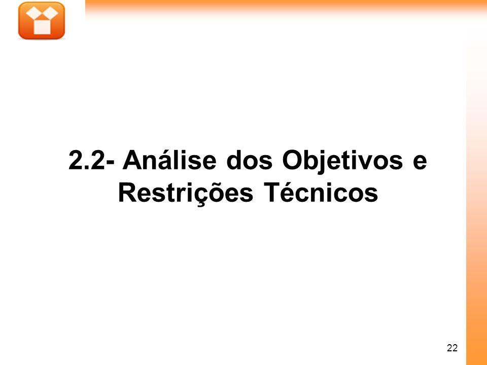 22 2.2- Análise dos Objetivos e Restrições Técnicos