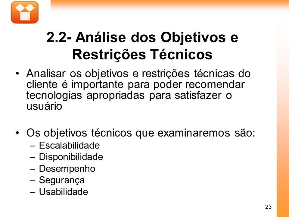 23 2.2- Análise dos Objetivos e Restrições Técnicos Analisar os objetivos e restrições técnicas do cliente é importante para poder recomendar tecnolog