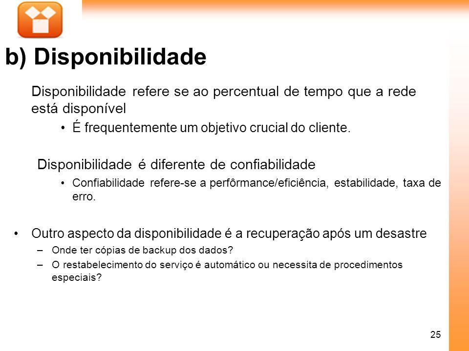25 b) Disponibilidade Disponibilidade refere se ao percentual de tempo que a rede está disponível É frequentemente um objetivo crucial do cliente. Dis