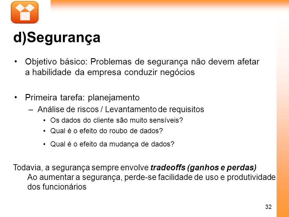 32 d)Segurança Objetivo básico: Problemas de segurança não devem afetar a habilidade da empresa conduzir negócios Primeira tarefa: planejamento –Análi