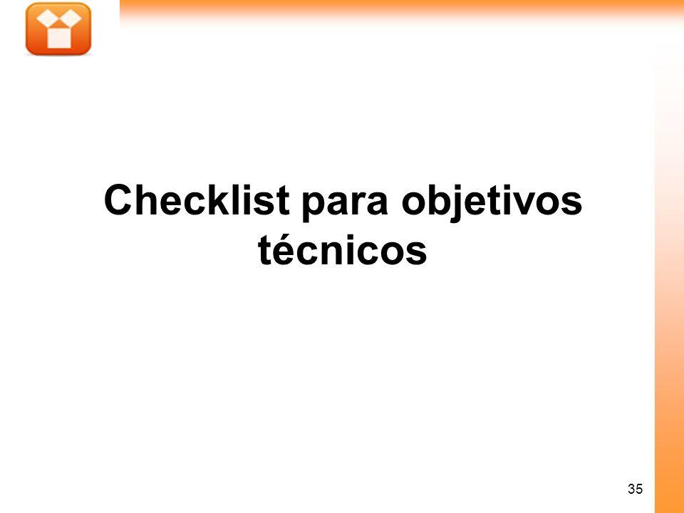 35 Checklist para objetivos técnicos