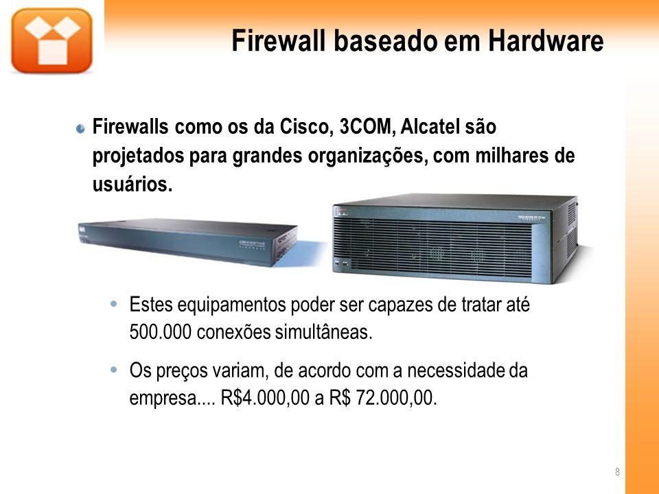 Firewall baseado em Hardware Proporciona uma forte segurança sem impactar o desempenho da rede. 9