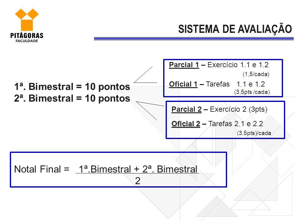 1ª. Bimestral = 10 pontos 2ª. Bimestral = 10 pontos Notal Final = 1ª.Bimestral + 2ª. Bimestral 2 SISTEMA DE AVALIAÇÃO Parcial 1 – Exercício 1.1 e 1.2