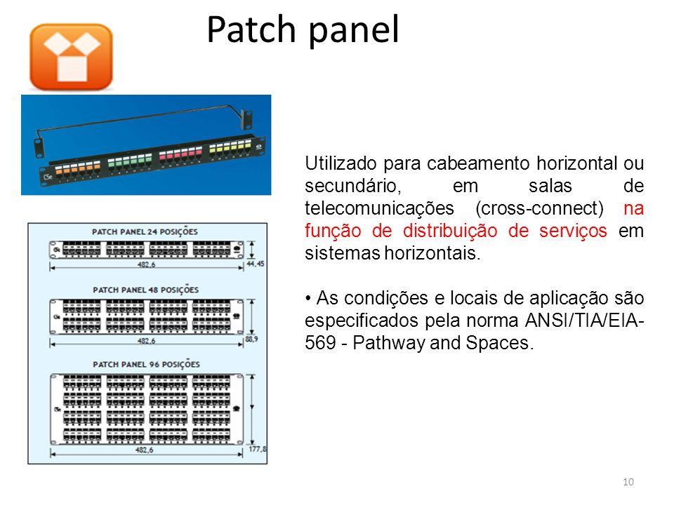 Patch panel Utilizado para cabeamento horizontal ou secundário, em salas de telecomunicações (cross-connect) na função de distribuição de serviços em