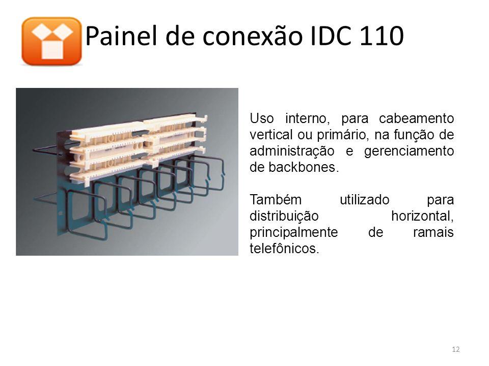 Painel de conexão IDC 110 Uso interno, para cabeamento vertical ou primário, na função de administração e gerenciamento de backbones. Também utilizado