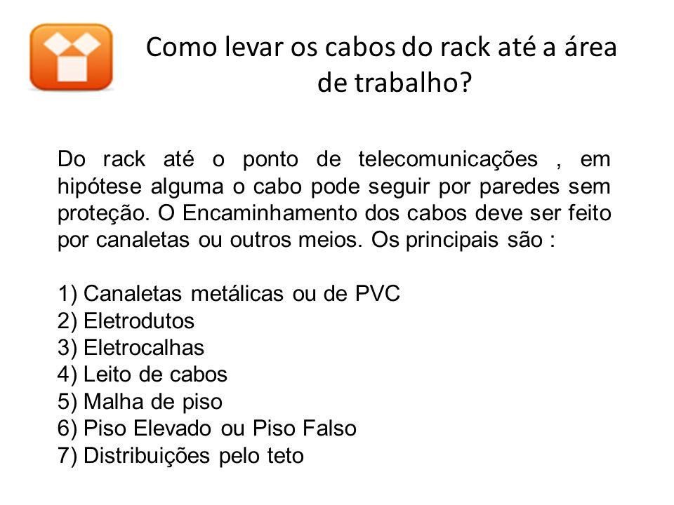 Do rack até o ponto de telecomunicações, em hipótese alguma o cabo pode seguir por paredes sem proteção. O Encaminhamento dos cabos deve ser feito por