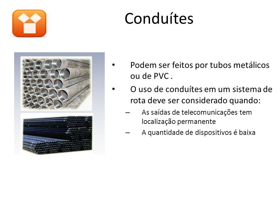 Conduítes Podem ser feitos por tubos metálicos ou de PVC. O uso de conduítes em um sistema de rota deve ser considerado quando: – As saídas de telecom