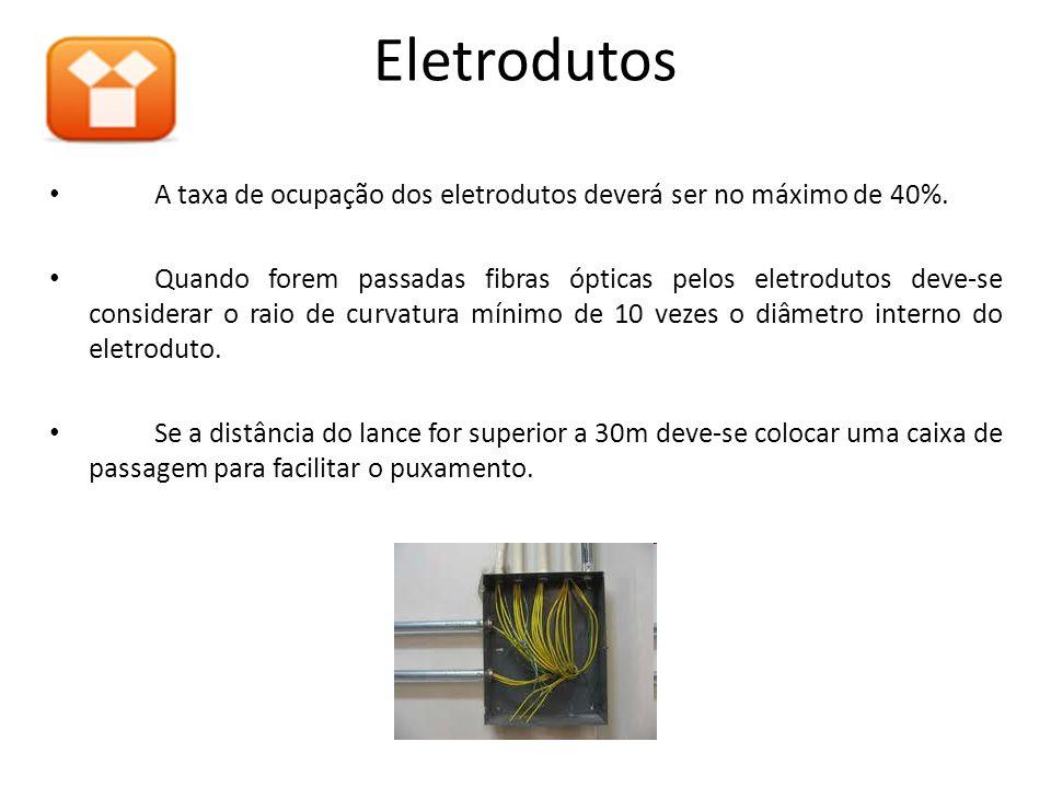 A taxa de ocupação dos eletrodutos deverá ser no máximo de 40%. Quando forem passadas fibras ópticas pelos eletrodutos deve-se considerar o raio de cu