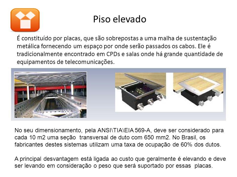 Piso elevado É constituído por placas, que são sobrepostas a uma malha de sustentação metálica fornecendo um espaço por onde serão passados os cabos.
