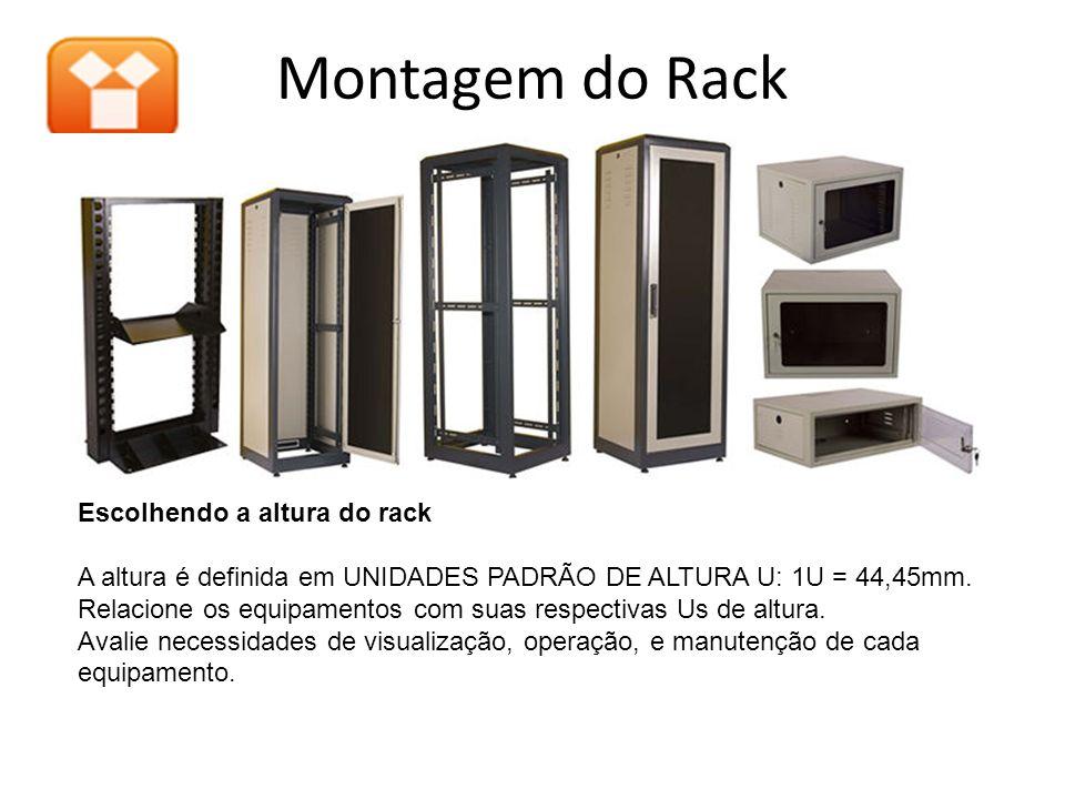 Montagem do Rack Escolhendo a altura do rack A altura é definida em UNIDADES PADRÃO DE ALTURA U: 1U = 44,45mm. Relacione os equipamentos com suas resp